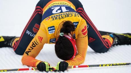 Katharina Hennig war nach dem Zieleinlauf ausgepowert.