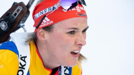 Denise Herrmann kam nach fünf Schießfehlern nur auf Rang 15 ins Ziel.