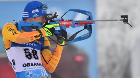 Für die Mixed-Staffeln nicht aufgestellt: Simon Schempp aus Deutschland beim Anschießen.