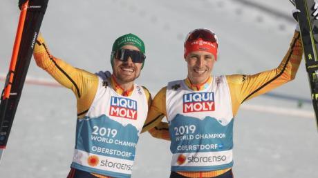Eric Frenzel (r) und Fabian Rießle holten WM-Bronze.