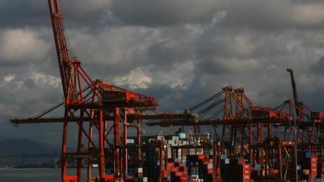 Riesiger Verladekräne im Containerhafen der kanadischenStadt Vancouver.