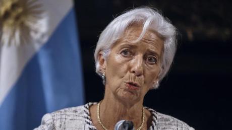 Christine Lagarde, Direktorin des Internationalen Währungsfonds (IWF), während einer gemeinsamen Pressekonferenz mit dem Wirtschaftsminister von Argentinien, Dujovne. Foto: Andres Kudacki/AP