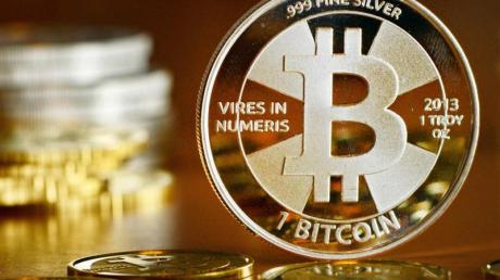 «Bitcoin-Münzen», fotografiert beim Münzhandel.