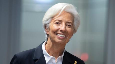 Christine Lagarde, Präsidentin der Europäischen Zentralbank (EZB),auf der turnusmäßigen Pressekonferenz der Bank in Frankfurt.