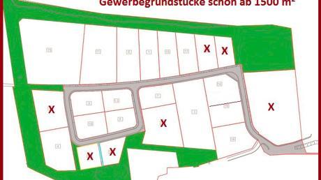 Die Erschließung des Gewerbegebietes in Wallertshofen ist so gut wie abgeschlossen. Insgesamt werden von der Gemeinde 67.000 Quadratmeter verkauft und können sofort bebaut werden. Bei Kaufinteresse kann man sich bei der Gemeinde melden. Angekreuzte Grundstücke sind bereits reserviert.