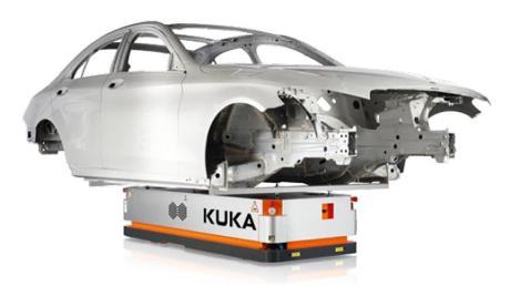So sehen fahrerlose Transportsysteme für Produktionsstätten aus, wie sie Kuka entwickelt – bisher in Augsburg und Ungarn, künftig vorrangig in Asien.