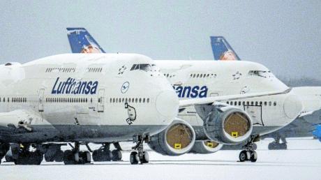 Stillgelegte Lufthansa-Maschinen in Frankfurt.