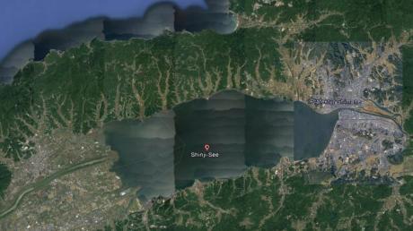 Eine Satellitenaufnahme des Shinji-Sees in Japan. Foto: Google/dpa