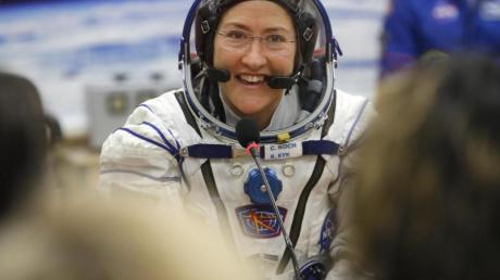 US-Astronautin Christina Koch vor dem Start ihres Raumflugs zur ISS im März dieses Jahres.