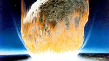 Dies ist die künstlerische Interpretation eines Asteroidenaufpralls auf der Erde. Der Asteroid im Bild erscheint viel größer als der rund zehn Kilometer lange Felsen, von dem Wissenschaftler annehmen, dass er vor 66 Millionen Jahren auf der Erde aufschlug. Das Bild illustriert jedoch gut die Hitzeentwicklung beim Aufschlag des Asteroiden.
