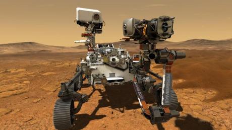 Diese Abbildung zeigt den NASA-Rover «Perseverance», der auf der Marsoberfläche im Einsatz ist.