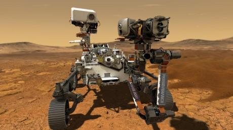 Eine undatierte Computer-Simulation zeigt den Nasa-Rover «Perseverance» auf der Marsoberfläche im Einsatz.