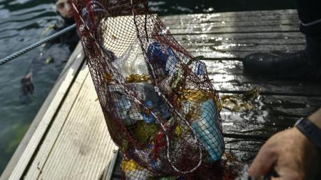 Plastik aus dem Meer, eingesammelt in einem Netz.