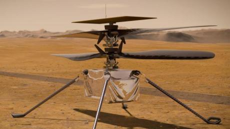 Eine Illustration zeigt den «Ingenuity-Hubschrauber» auf der Marsoberfläche.