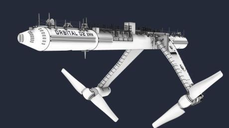 Computergrafik des schwimmenden Gezeitenkraftwerks «Orbital O2», das demnächst vor der Küste der schottischen Orkney-Inseln in Betrieb gehen soll.