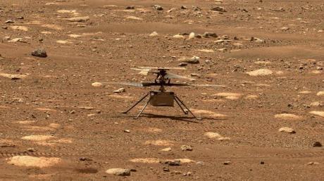 Das Foto zeigt den Hubschrauber «Ingenuty» am 7. April auf dem Mars.